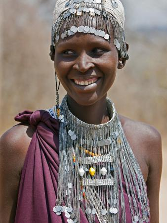 A Maasai Girl from the Kisongo Clan Wearing an Attractive Beaded Headband and Necklace