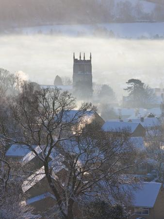View of Wotton under Edge, Gloucestershire, Cotswolds in Winter with Snow