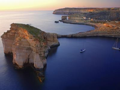 Malta, Gozo, Dwejra; 'Fungus Rock' Named So, Because of the Plant Growing on It