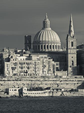 Malta, Valletta, Skyline with St; Paul's Anglican Cathedral and Carmelite Church from Sliema