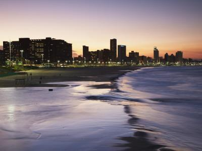 View of City Skyline and Beachfront at Sunset, Durban, Kwazulu-Natal, South Africa