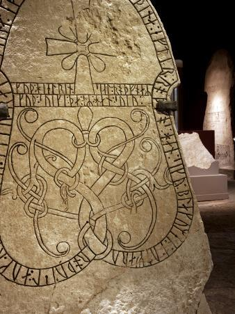 Sweden, Island of Gotland, Visby; Detail from Viking Carved Rune Stones in the Museum of Gotland