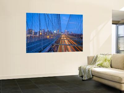 Usa, New York, Manhattan, Downtown Financial District and Brooklyn Bridge