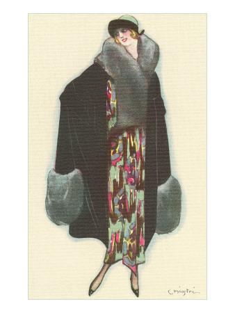 Smiling Lady with Fur-Trimmed Coat