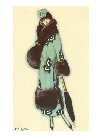 Lady in Fur-Trimmed Coat with Umbrella