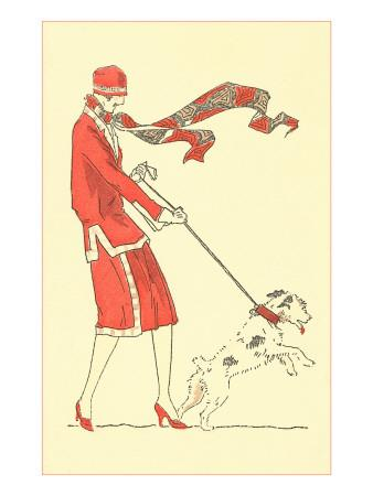 Lady in Wind Restraining Dog