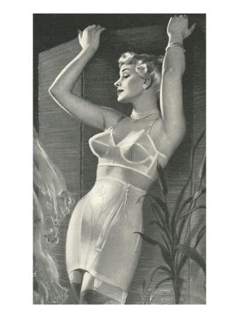 Lady in Underwear with Screen and Cattails