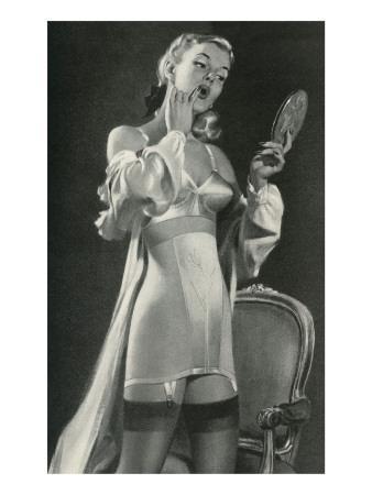Lady in Underwear Applying Make-up