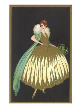 Full-Skirted Evening Dress with Fur Wrap
