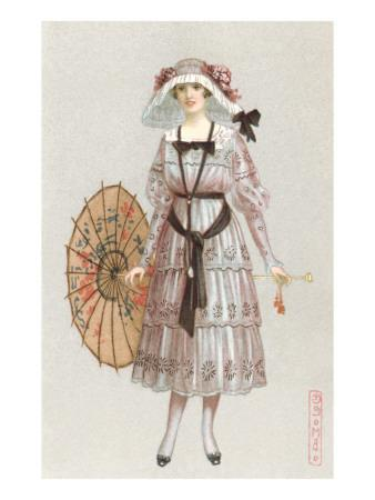 Woman in Droopy Hat, Fashion Illustration