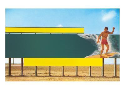 Surfer on Blank Billboard