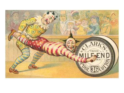 Victorian Clowns Using Spool as Wheel Barrow