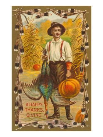 Greetings, Man with Turkey and Pumpkin