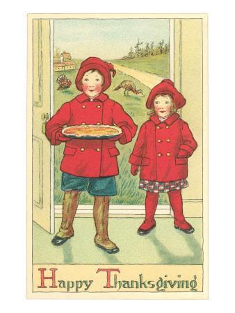 Children Bringing Pie