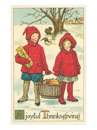 Children Carrying Basket of Food