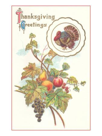 Thanksgiving Greetings, Turkey and Fruits
