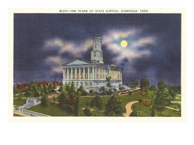 Moon over State Capitol, Nashville, Tennessee