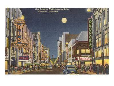 Moon over Gay Street, Knoxville, Tennessee