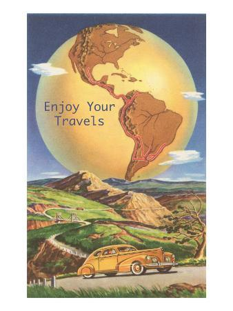 Enjoy Your Travels, Globe with Americas
