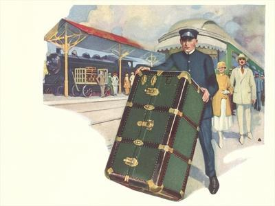 Porter with Large Steamer Trunk