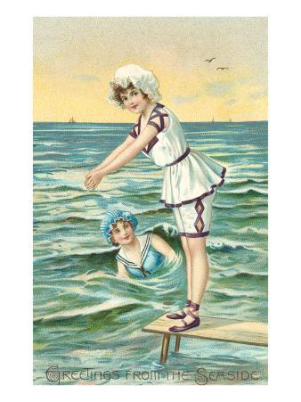 Greetings from the Seaside, Two Victorian Girls