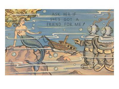 Mermaid and Deep Sea Divers, Cartoon
