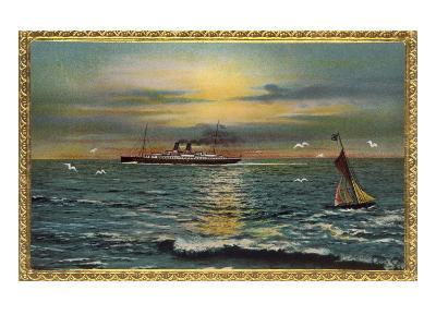 Framed Seascape with Steamship and Sailboat