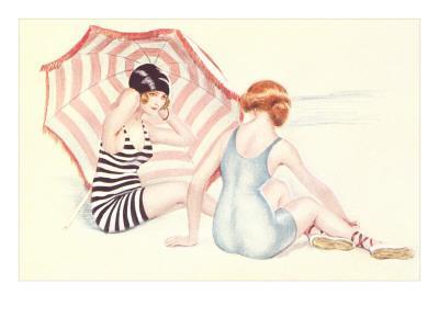 Women in Swim Suits with Umbrella
