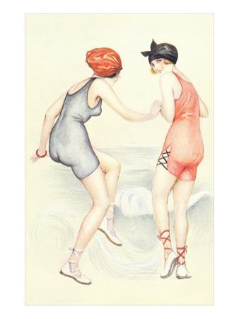 Women in Bathing Costumes Playing Tag