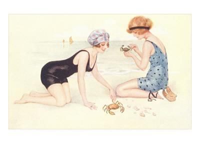 Women in Bathing Costumes Playing with Crabs