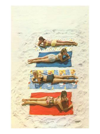 Bathing Beauties on Beach Towels
