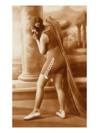 Vintage Bathing Beauty in Swimsuit