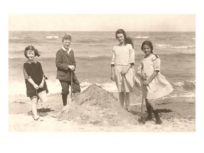 Kids Digging on Beach