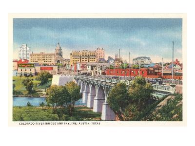Colorado River Bridge and Austin, Texas Skyline