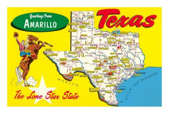 Map Of Texas Amarillo.Greetings From Amarillo Texas Map Print At Allposters Com