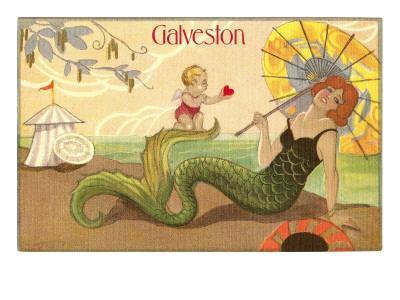 Mermaid with Parasol, Galveston, Texas