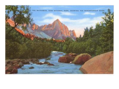 Watchman, Zion Park, Makuntuweap River, Utah