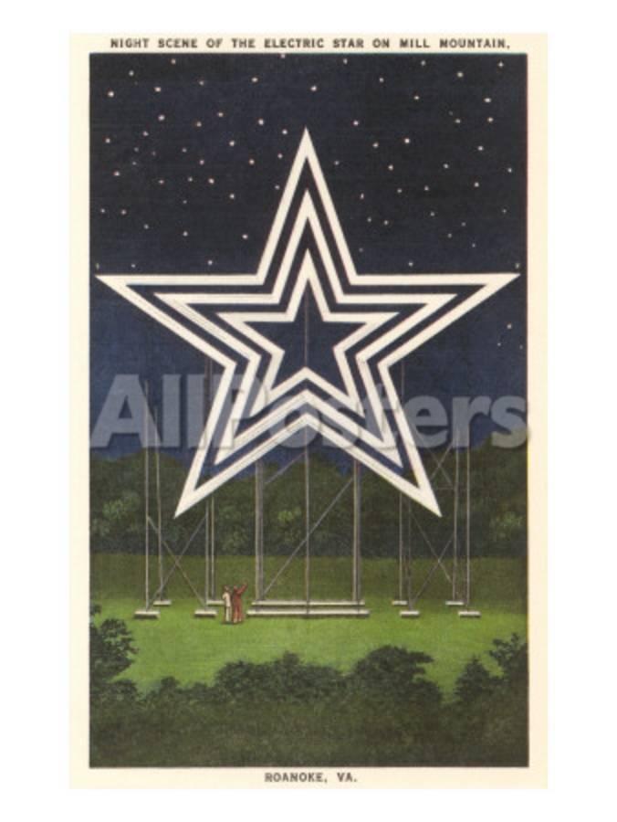 Lighted Star Mill Mountain Roanoke Virginia Print At Allposterscom