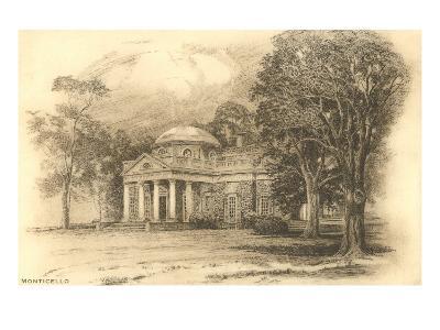 Engraving of Monticello, Charlottesville, Virginia