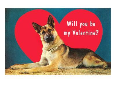 Quizzical German Shepherd, Will You Be My Valentine?