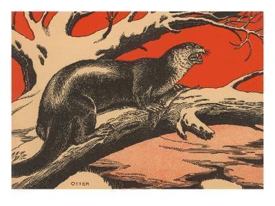 Woodcut of Otter