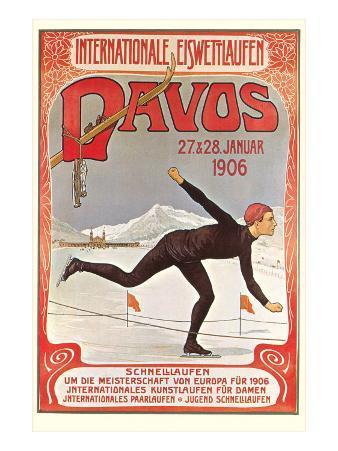 Swiss Speed Skating Poster, Davos