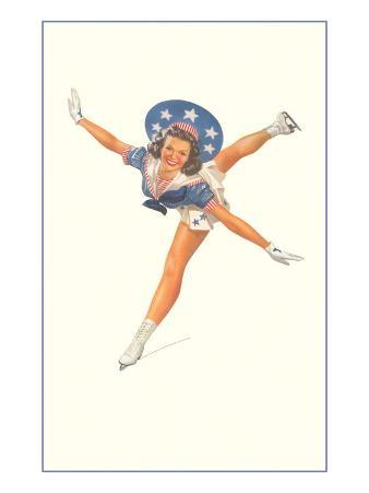 Lady Ice Skater with Patriotic Outfit