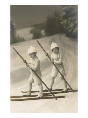 Two Children on Skis with Barge Poles