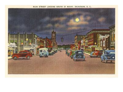 Moon over Main Street, Anderson, South Carolina