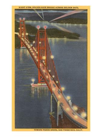 Night, Golden Gate Bridge, San Francisco, California