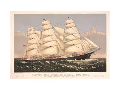 Clipper Ship Three Brothers, 2972 Tons, Largest Sailing Ship in the World
