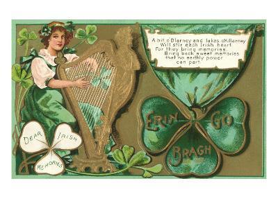 St. Patricks Day Poem, Girl Playing Harp