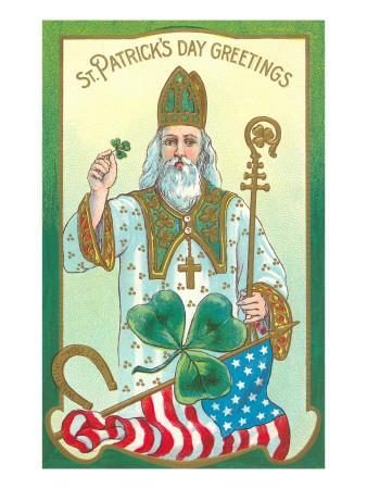 St. Patrick with Shamrock and Crozier