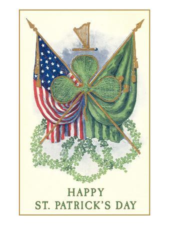 St. Patricks Day, US and Irish Flags
